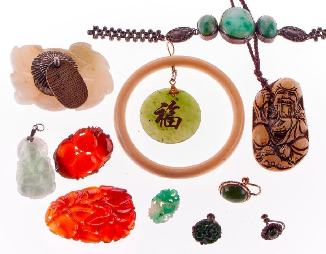 Collection of 11 assorted jade jewelry items