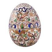 Late 19th- / Early 20th-Century Russian Cloisonne Egg