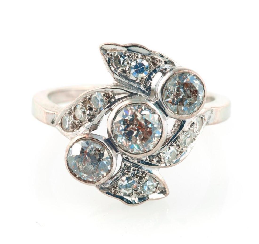Diamond and 14k white gold ring