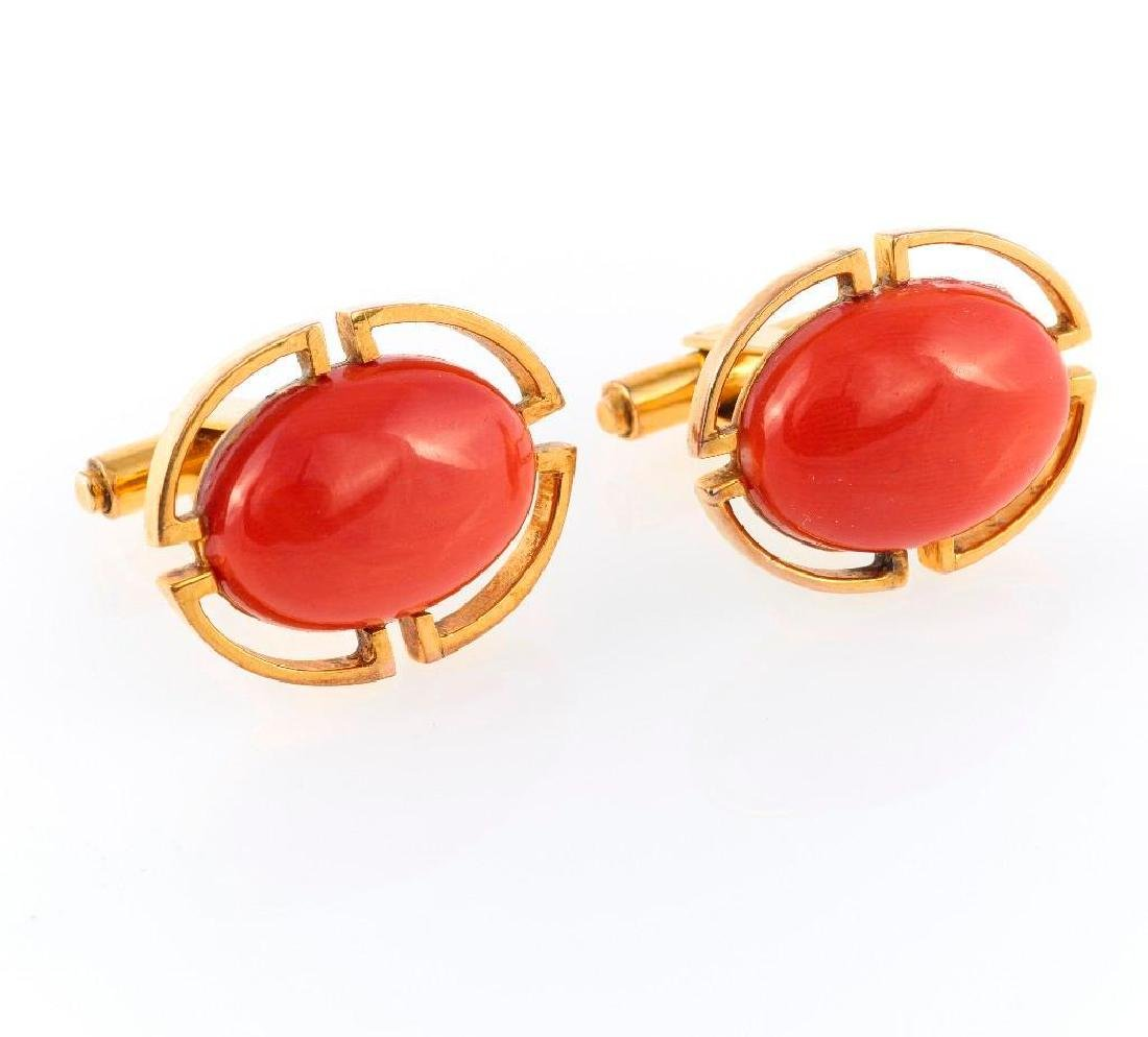 Pair of coral and 14k gold cufflinks