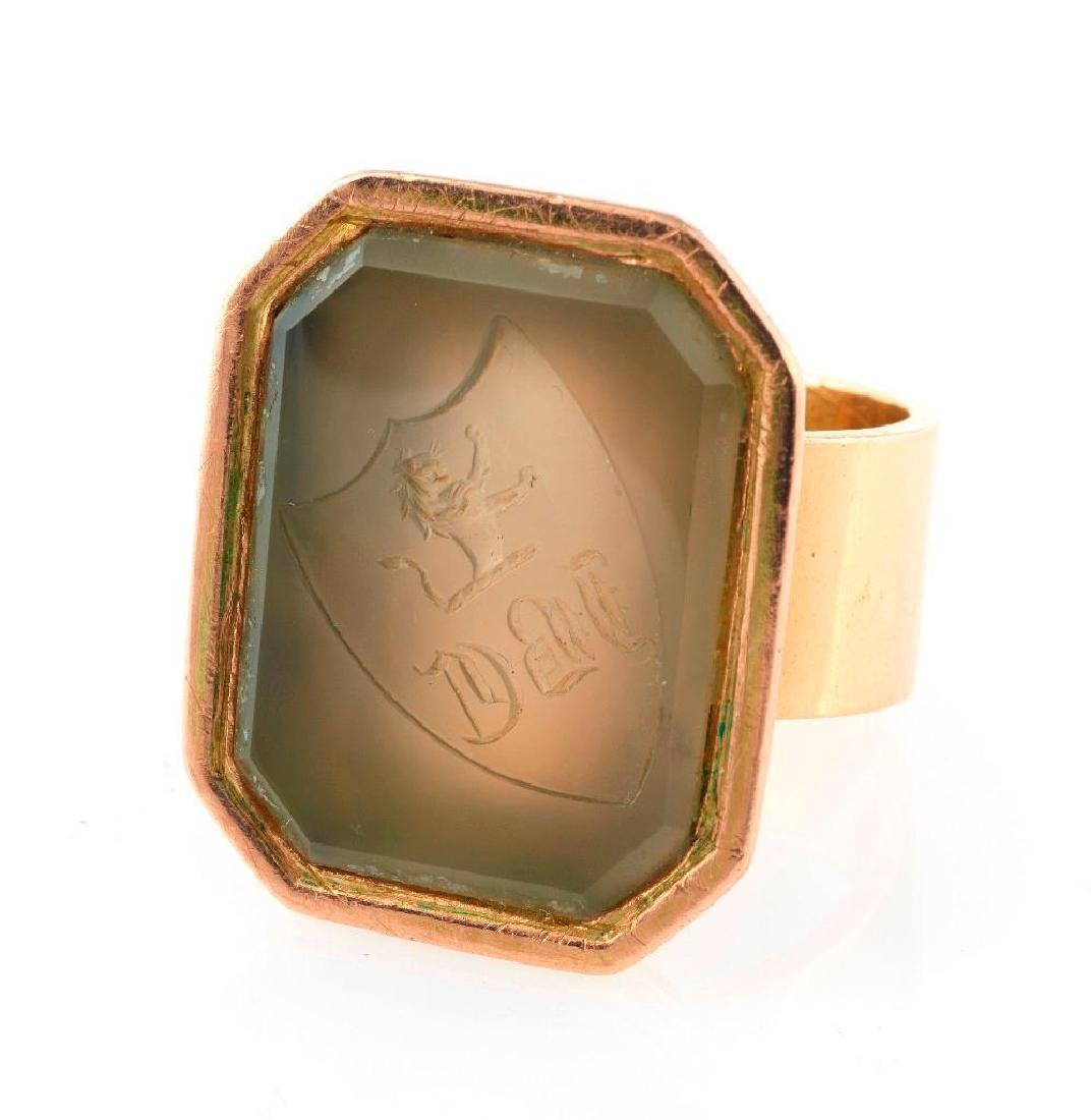 Victorian hardstone intaglio seal and 14k gold ring