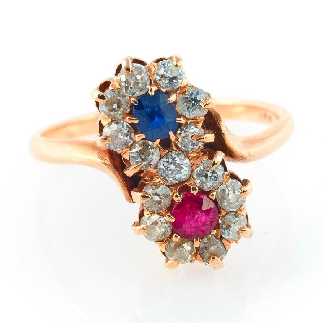 Ruby, sapphire, diamond and 14k gold flower ring