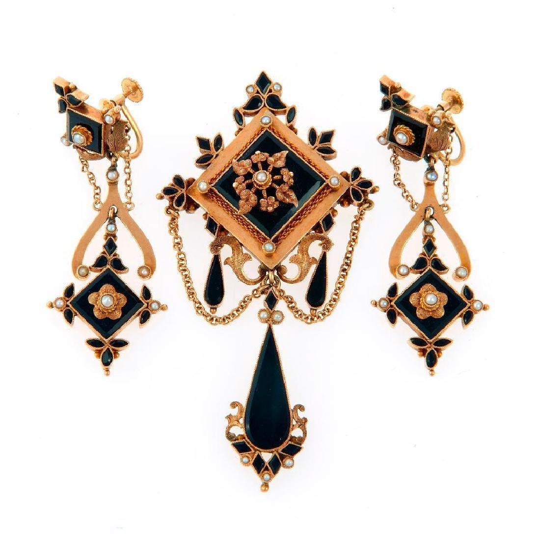 Victorian onyx, seed pearl, 14k gold brooch/earring set