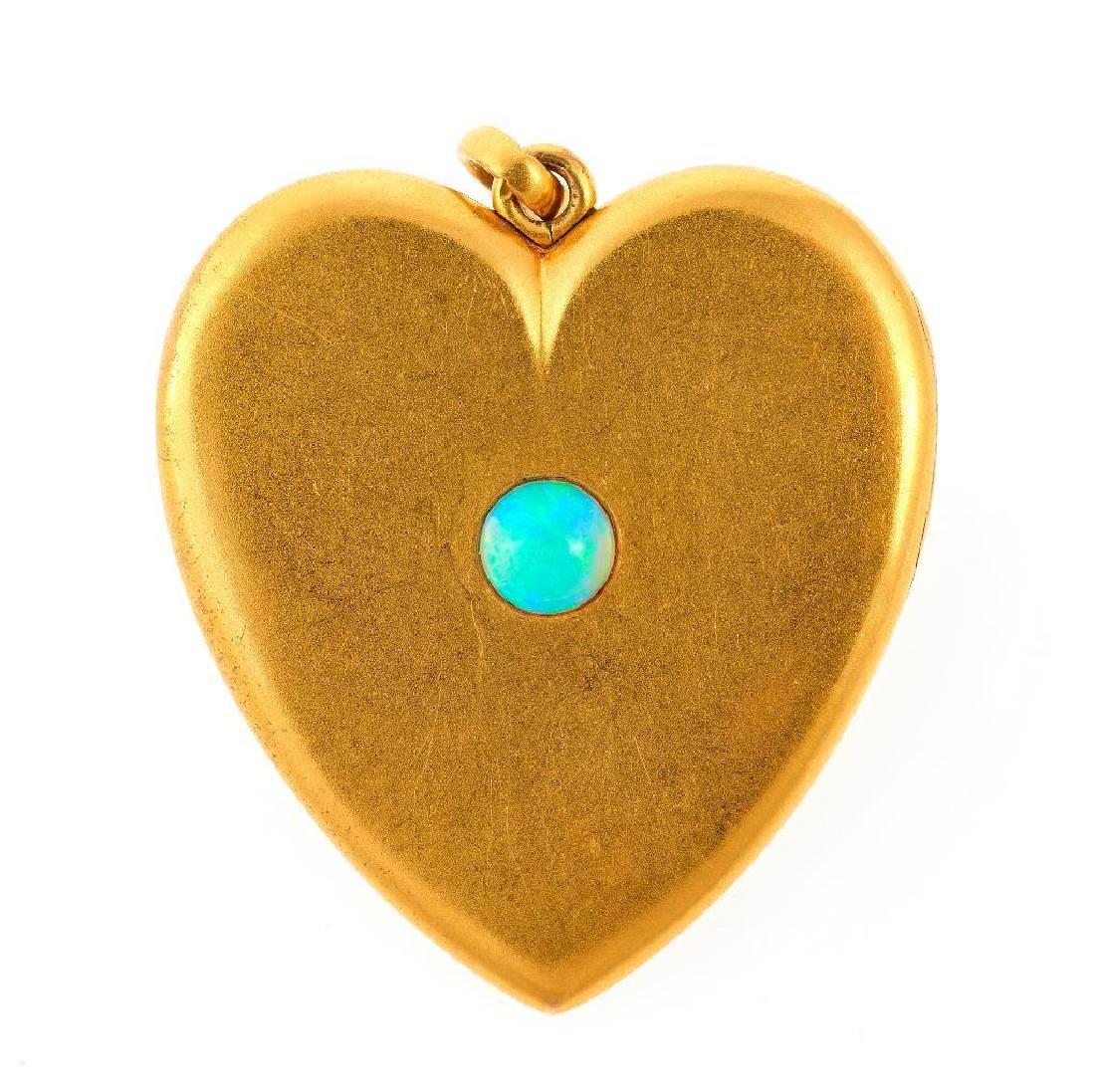 Opal and 10k gold heart locket