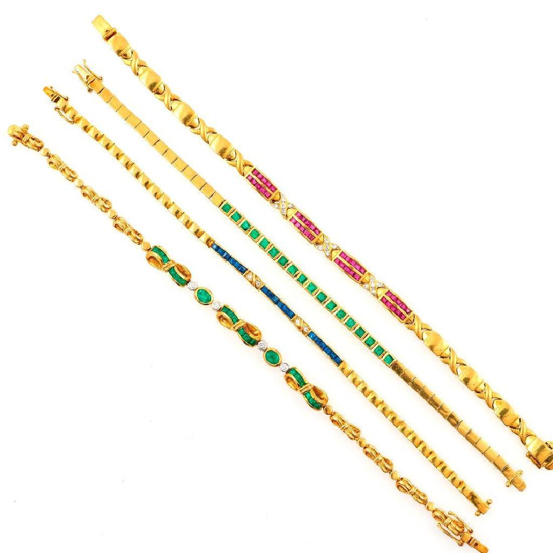 Collection of gem-set, diamond, 18k gold brooches