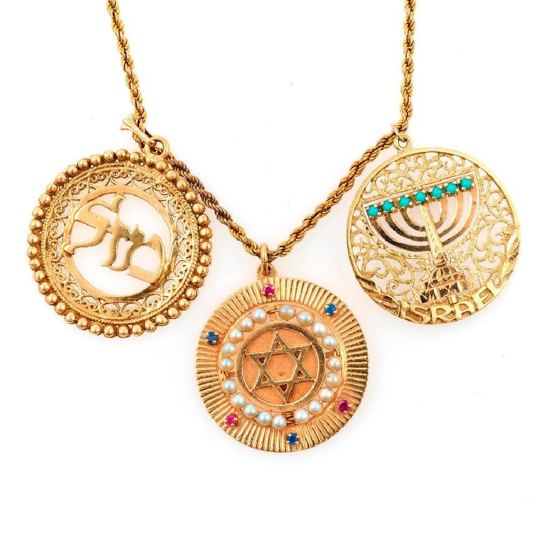 Judaica charm pendant-necklace