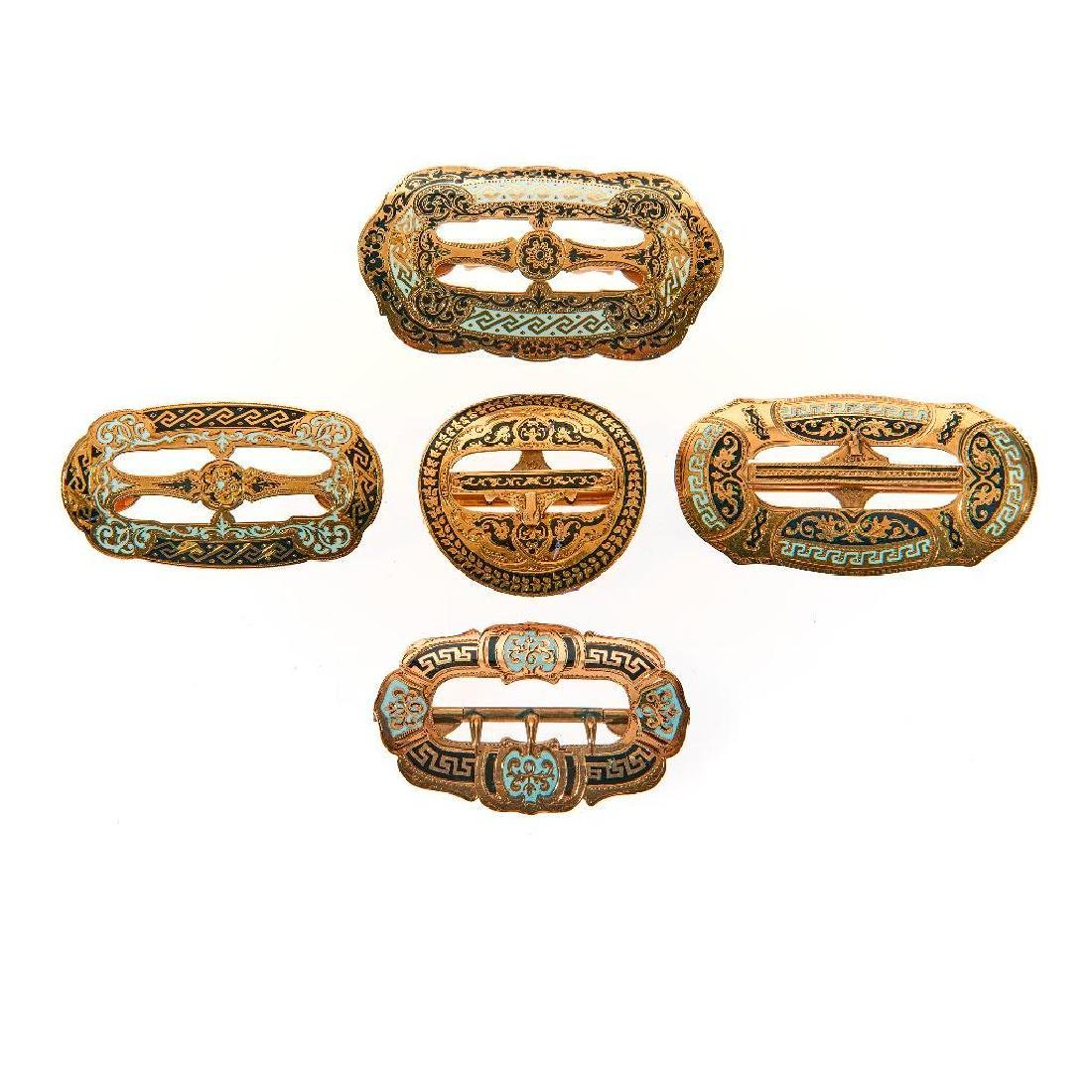 Collection of Victorian tracery enamel gold buckles