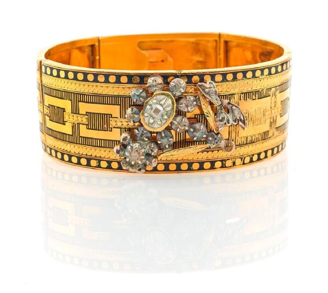 Victorian enamel, diamond, gold and silver bracelet