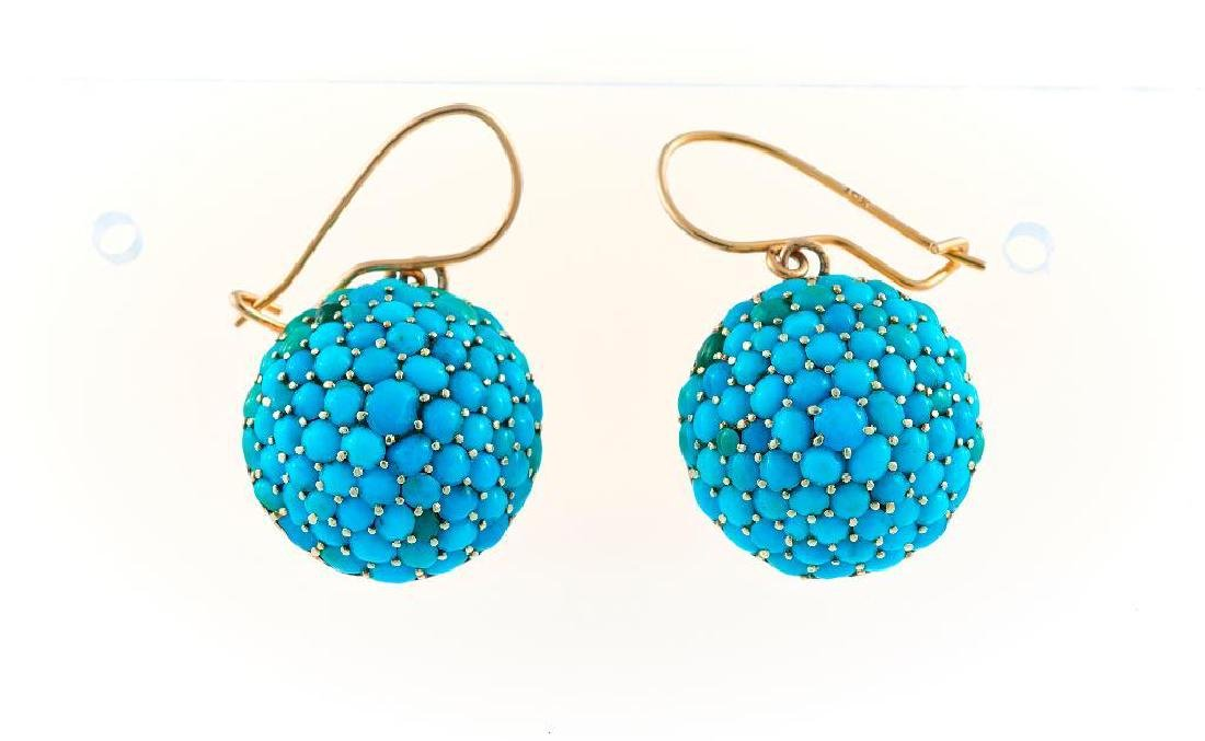 Pair of Victorian turquoise and 14k gold bombe earrings