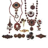 Collection of Bohemian garnet jewelry