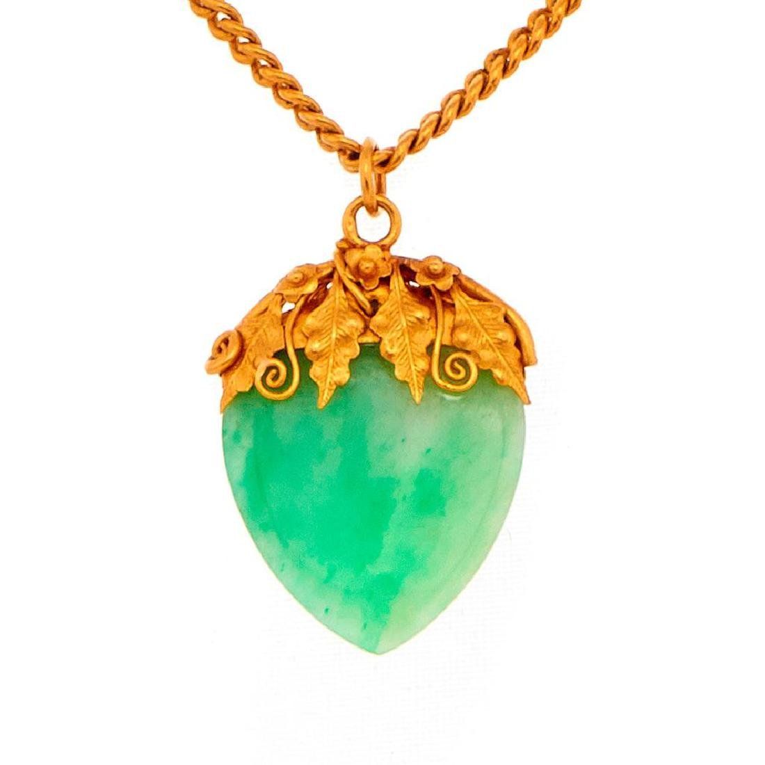 Jade and high karat gold pendant and chain