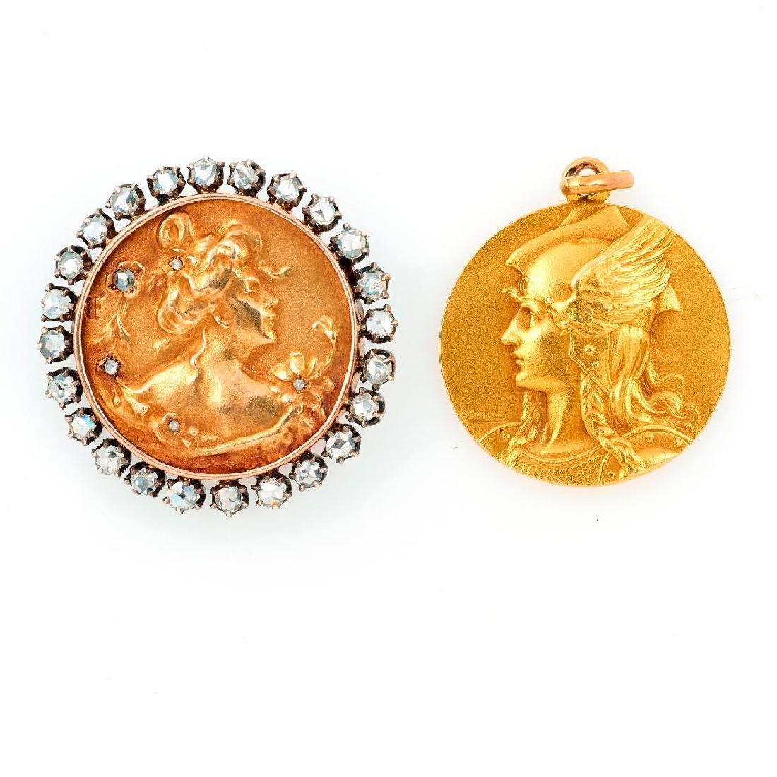 Andre Lavrillier Art Nouveau 18k gold pendant