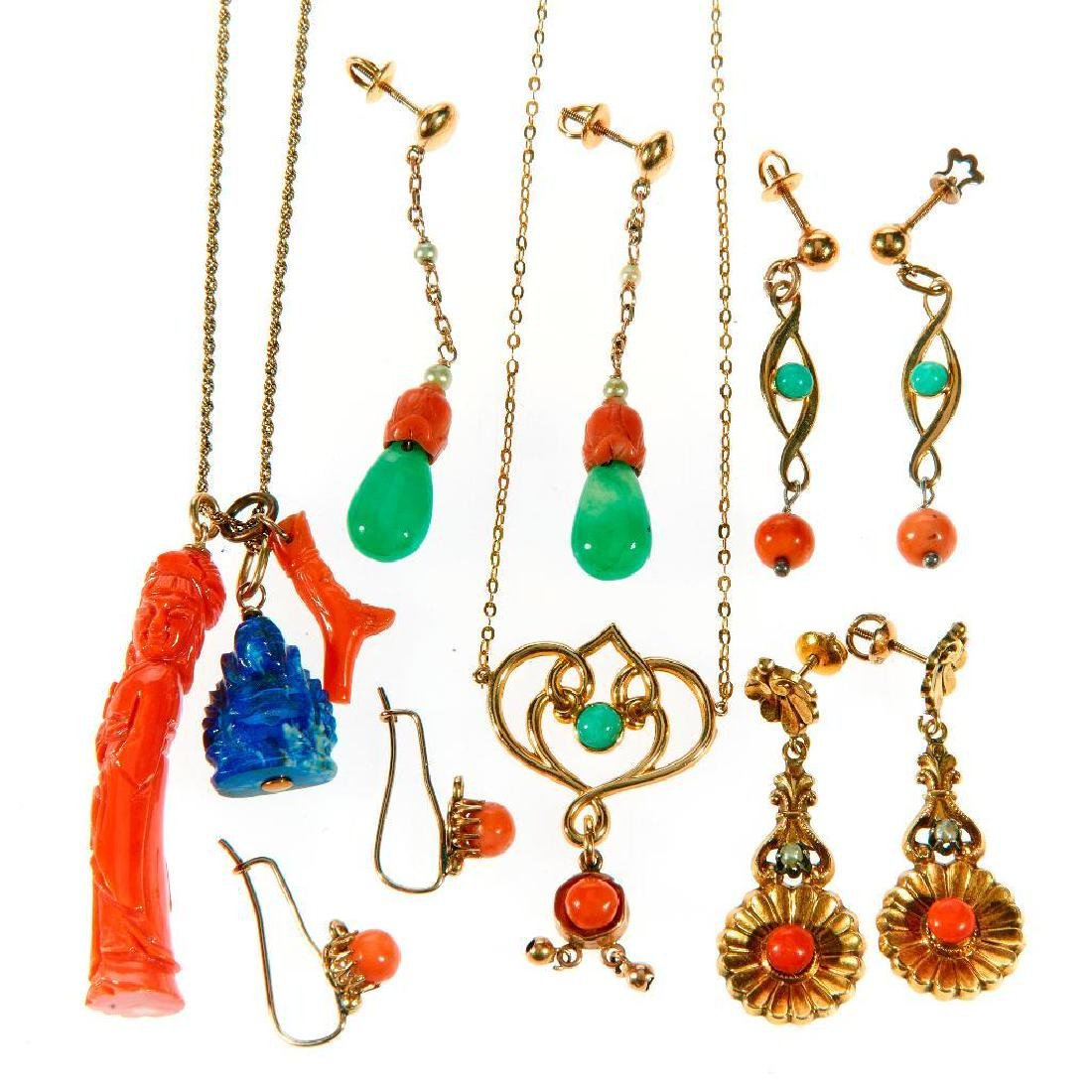 Collection of gemstone and 10k gold jewelry