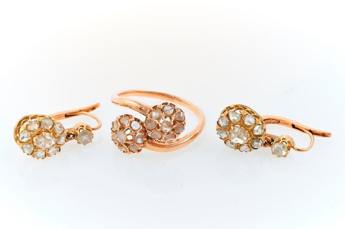 Diamond, 14k and 10k gold ring and earring set