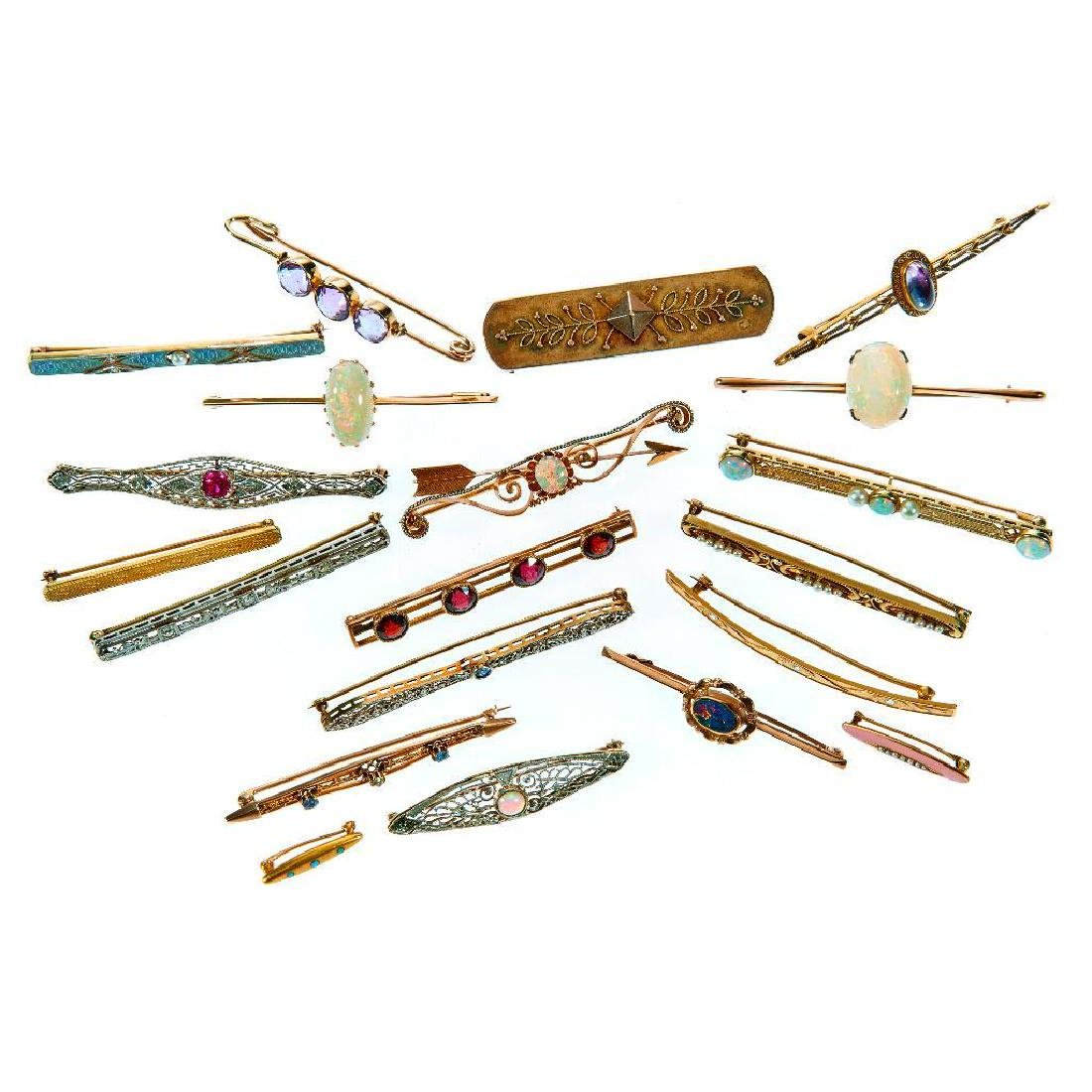Collection of gem-set and gold bar and lingerie pins