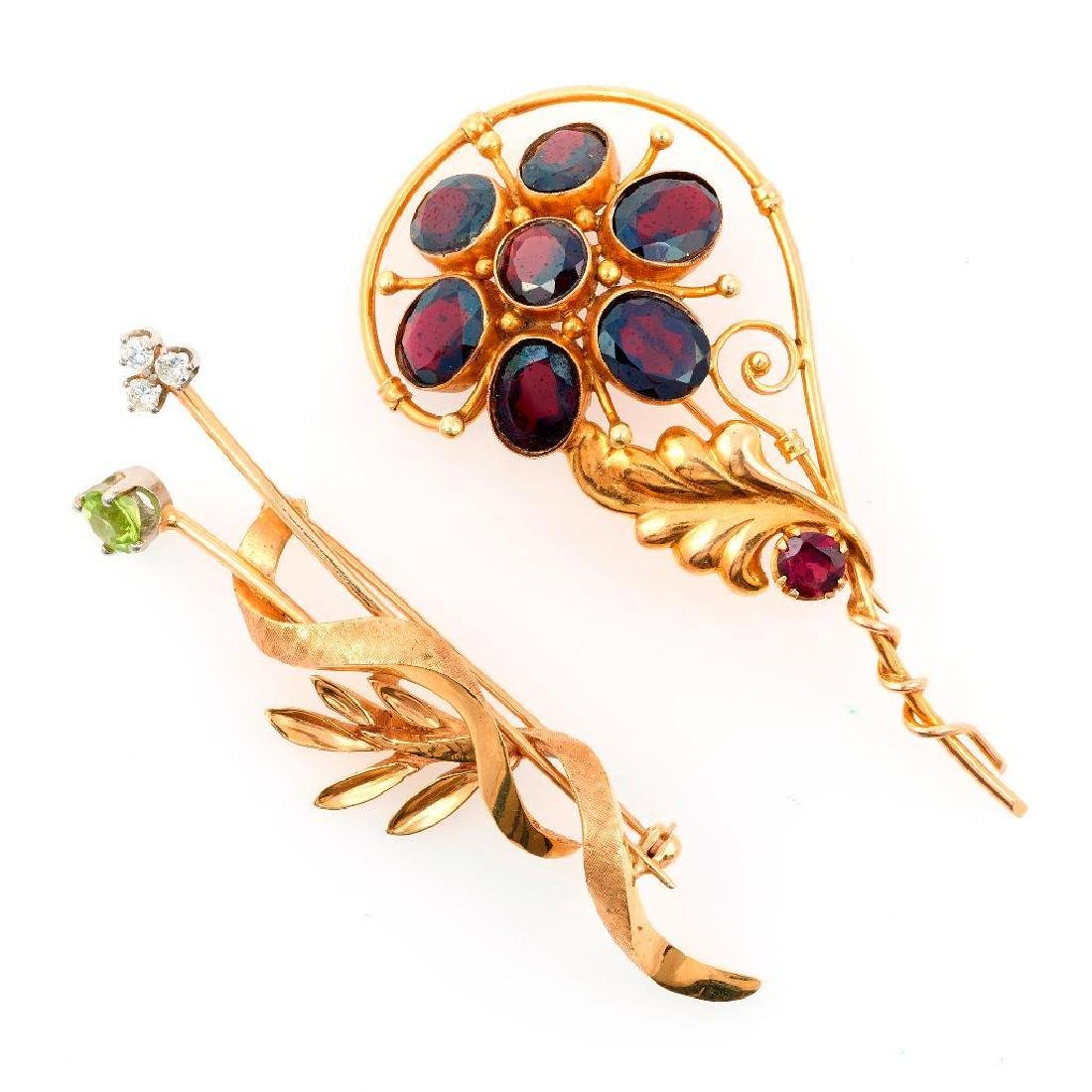 Two gem-set and 14k gold brooches