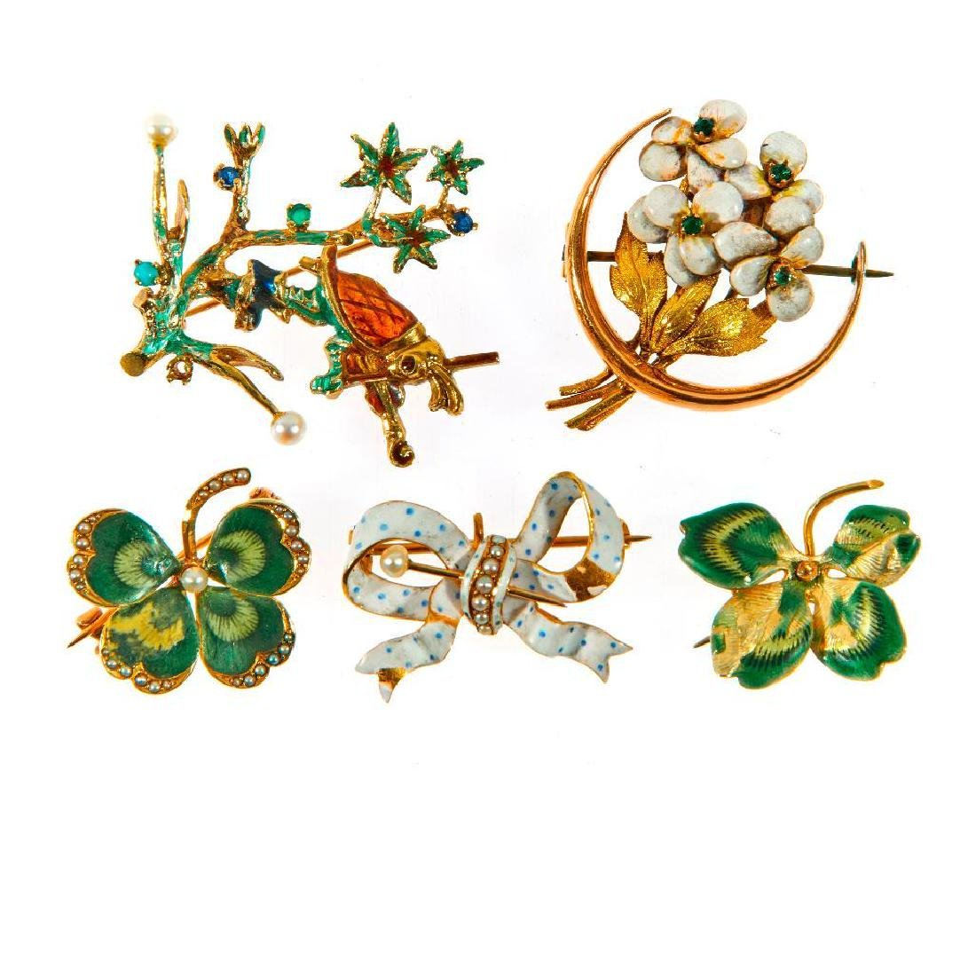 Collection of 5 cultured pearl, enamel & 14k gold pins