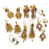 Collection of 7 pairs of antique gem-set earrings