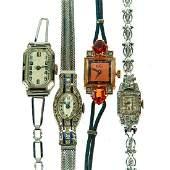 Collection, 4 retro & Art Deco diamond-set wristwatches