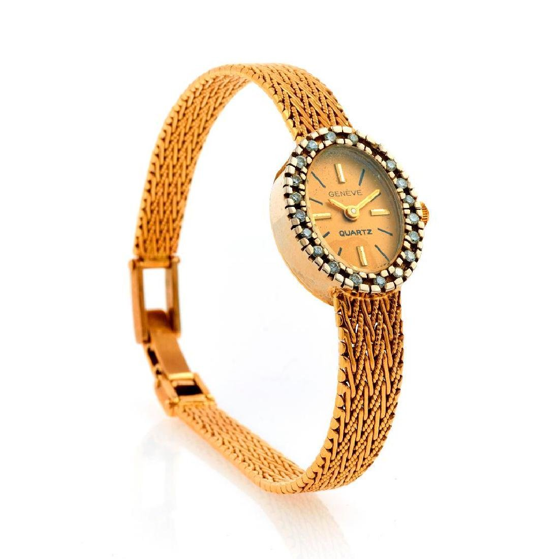 Geneve ladies diamond and 14k gold wristwatch