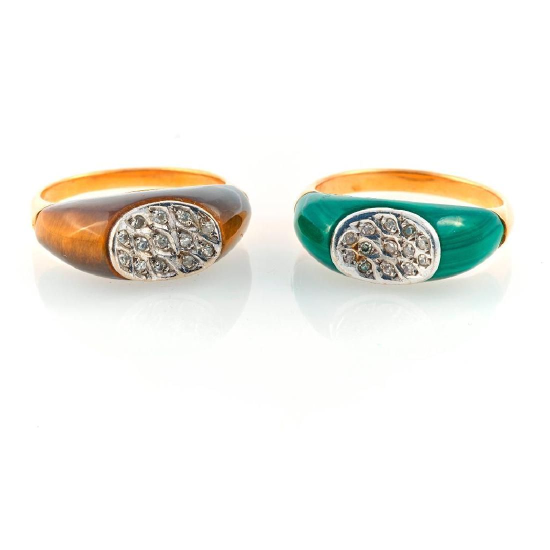 Pair of malachite, tiger's eye/diamond & 18k gold rings