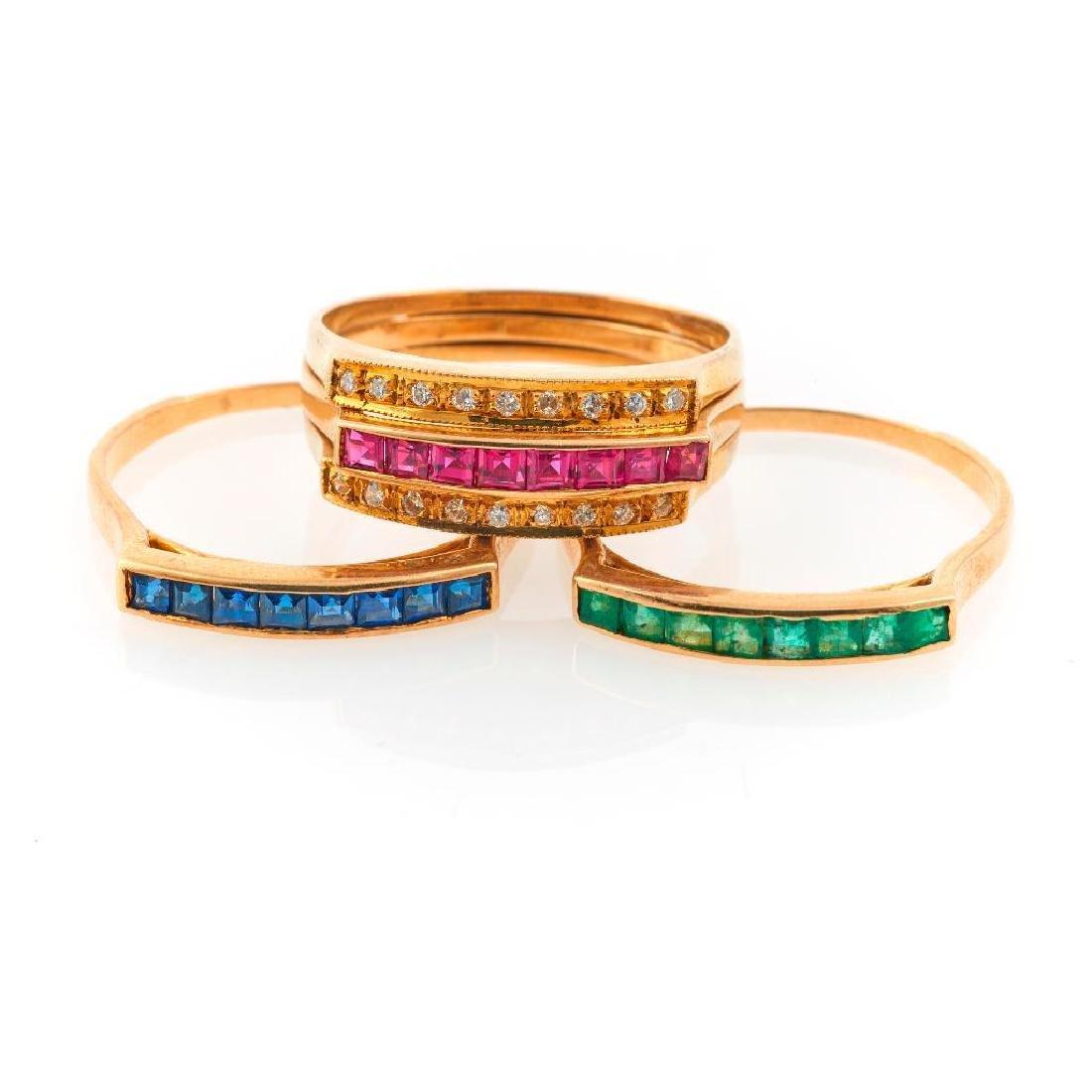 Ruby, sapphire, emerald, diamond & gold triple ring set