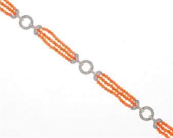 Coral bead, diamond and 18k white gold bracelet