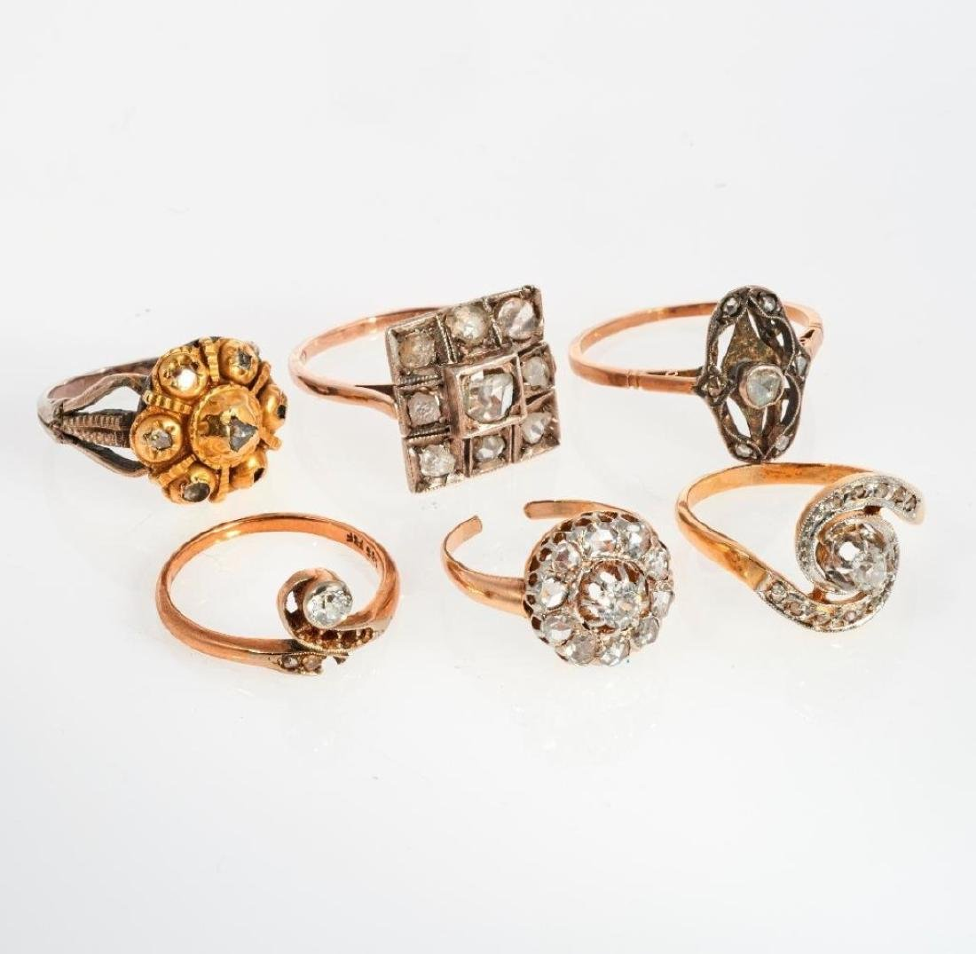 Collection of 6 diamond, 14k white gold and silver ring