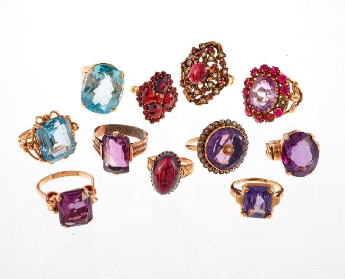 Collection of 12 stone set, 14k and 10k gold rings