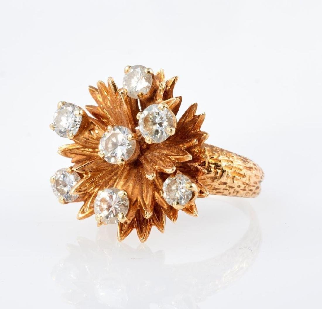 Diamond and 14k gold stylized floral ring