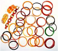 Collection of 36 bakelite, resin, plastic, horn and sil