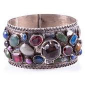 Semi-precious stone and silver bangle bracelet