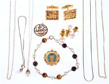 Collection of cultured pearl tigers eye 14k gold jew