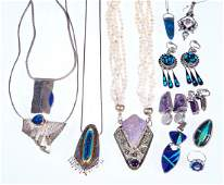 Collection of semi-precious, silver and gold jewelry