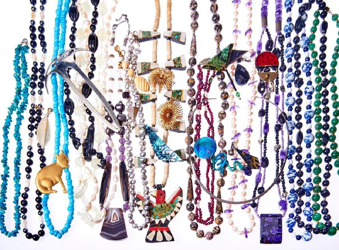 Collection of 70+ beaded, silver and costume jewelry