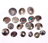 Collection of nickel silver and metal buttons and cover
