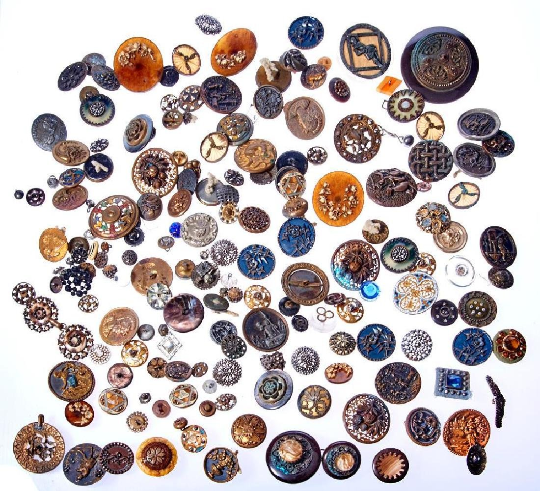 Collection of 150+ antique and vintage buttons & buckle