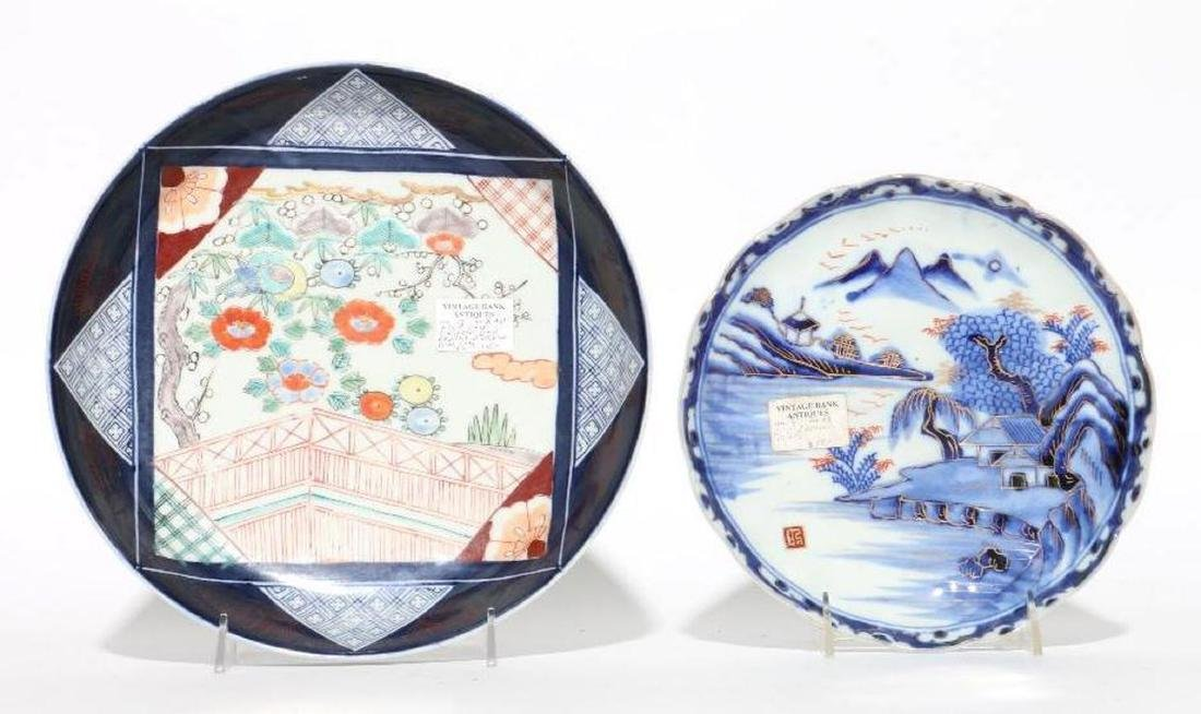 Two Japanese Imari dishes.
