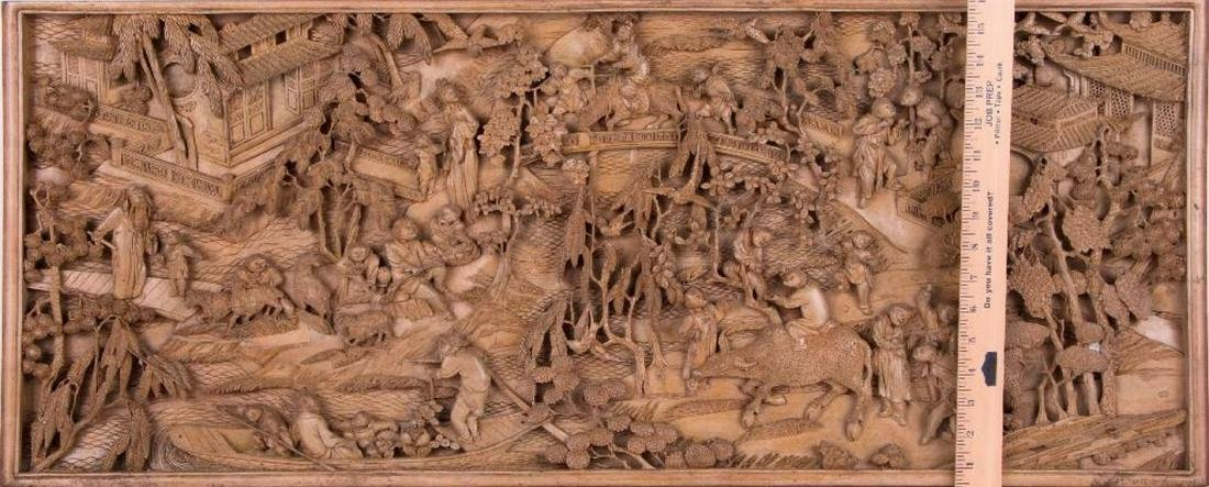 Two Chinese carved wood panels. - 10