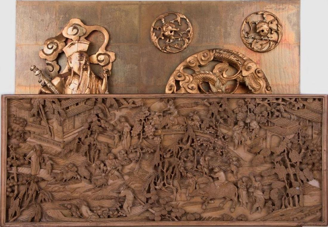 Two Chinese carved wood panels.