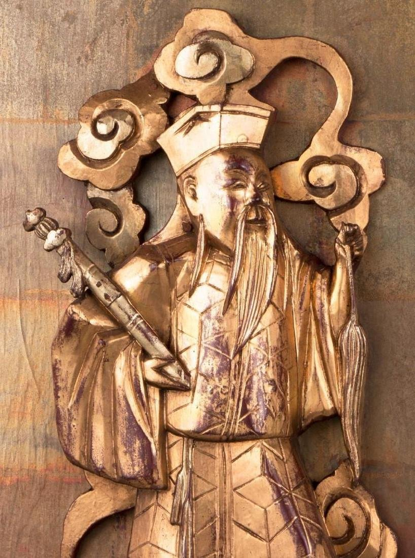 Two Chinese carved wood panels. - 4
