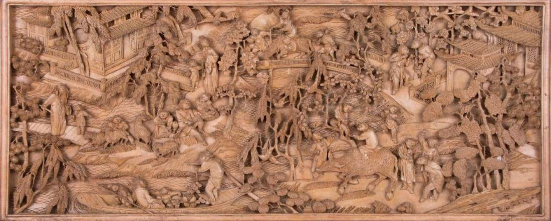 Two Chinese carved wood panels. - 5