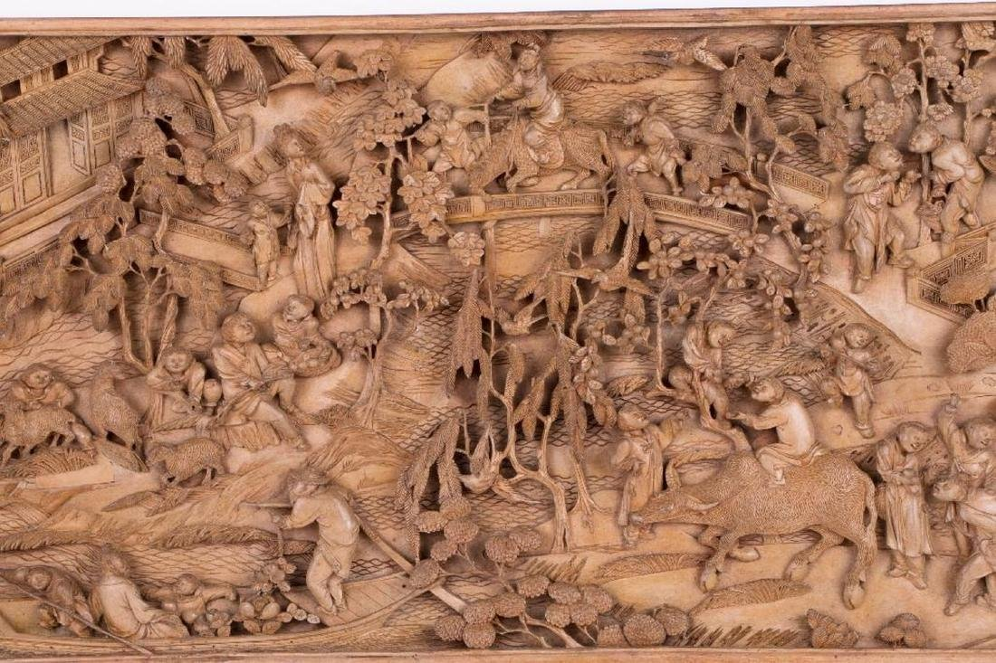Two Chinese carved wood panels. - 6