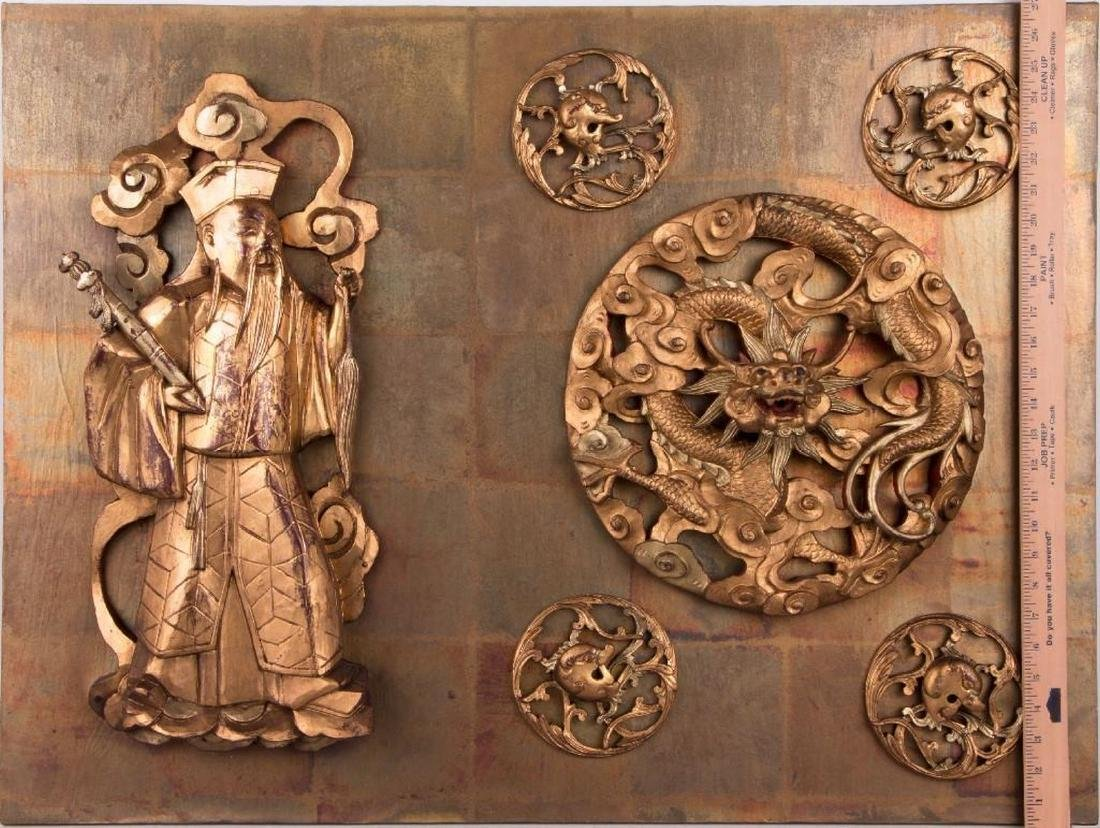Two Chinese carved wood panels. - 9