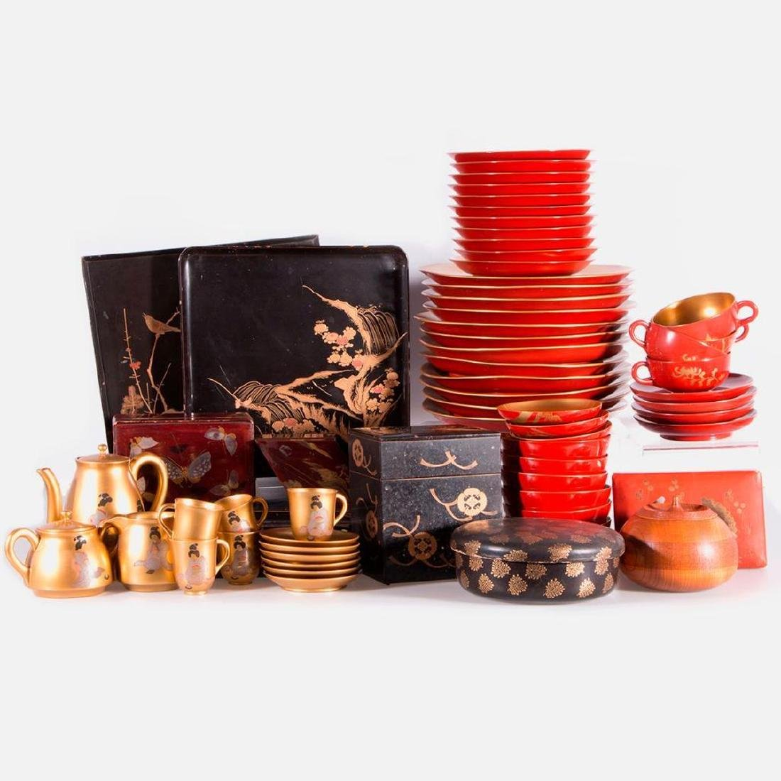 Collection of Japanese lacquer ware.