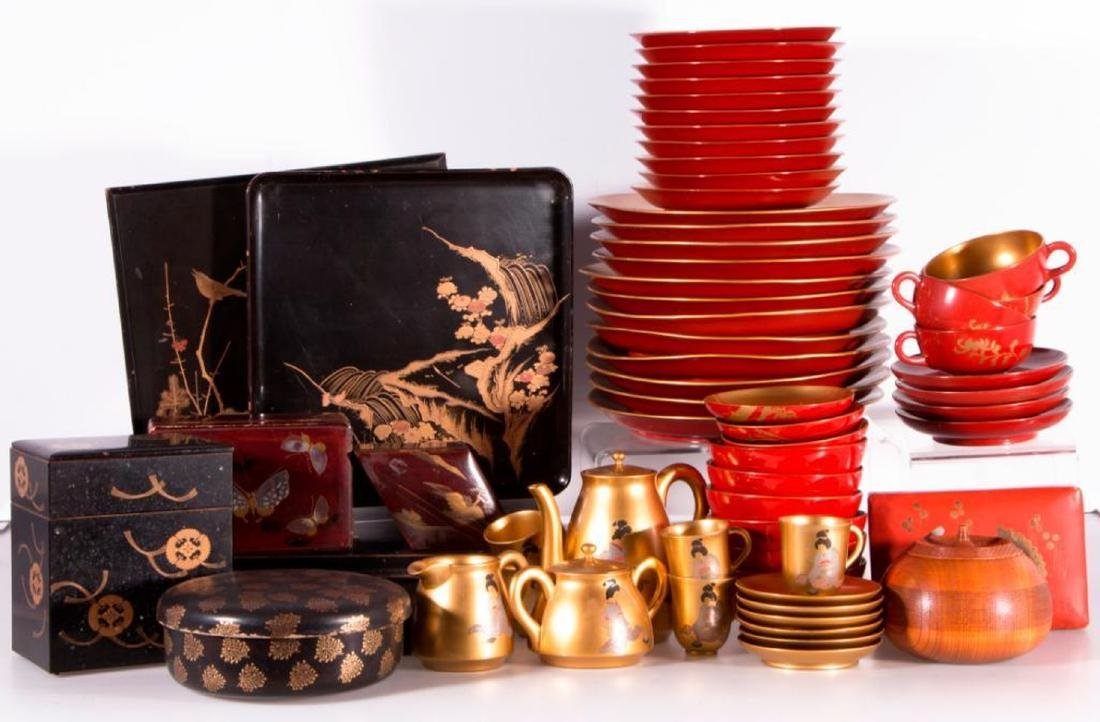 Collection of Japanese lacquer ware. - 2