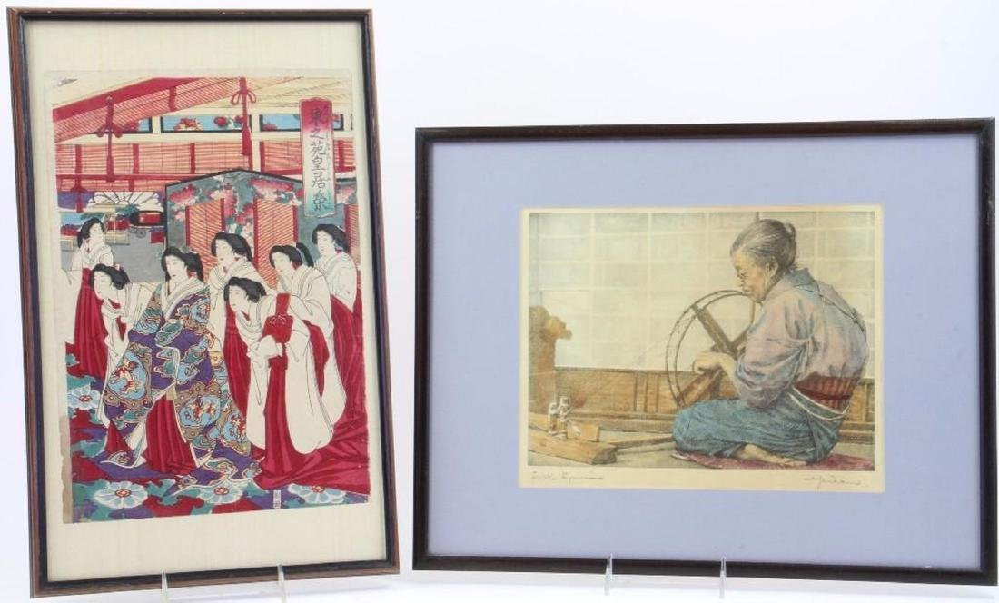 A Japanese woodblock and an Asian print.