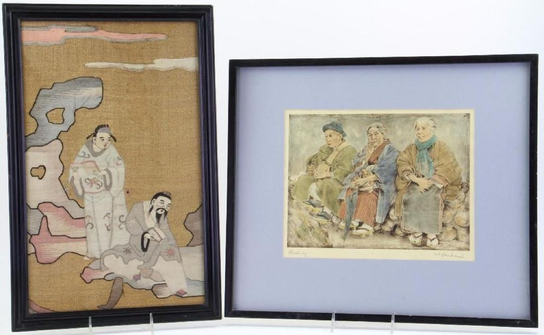 A Japanese woodblock and an Asian print. - 2