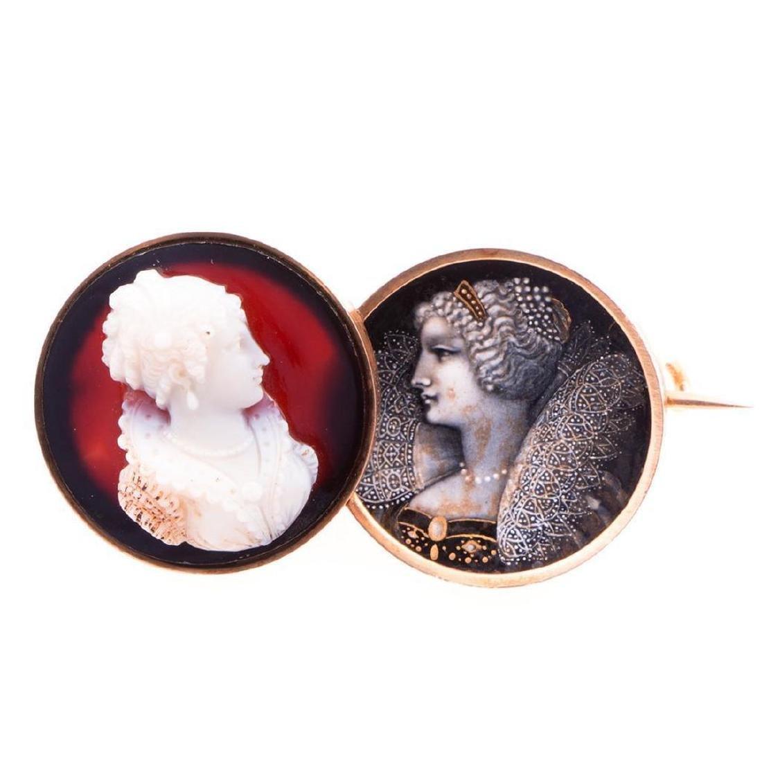Antique enamel, hardstone cameo and 14k gold brooch