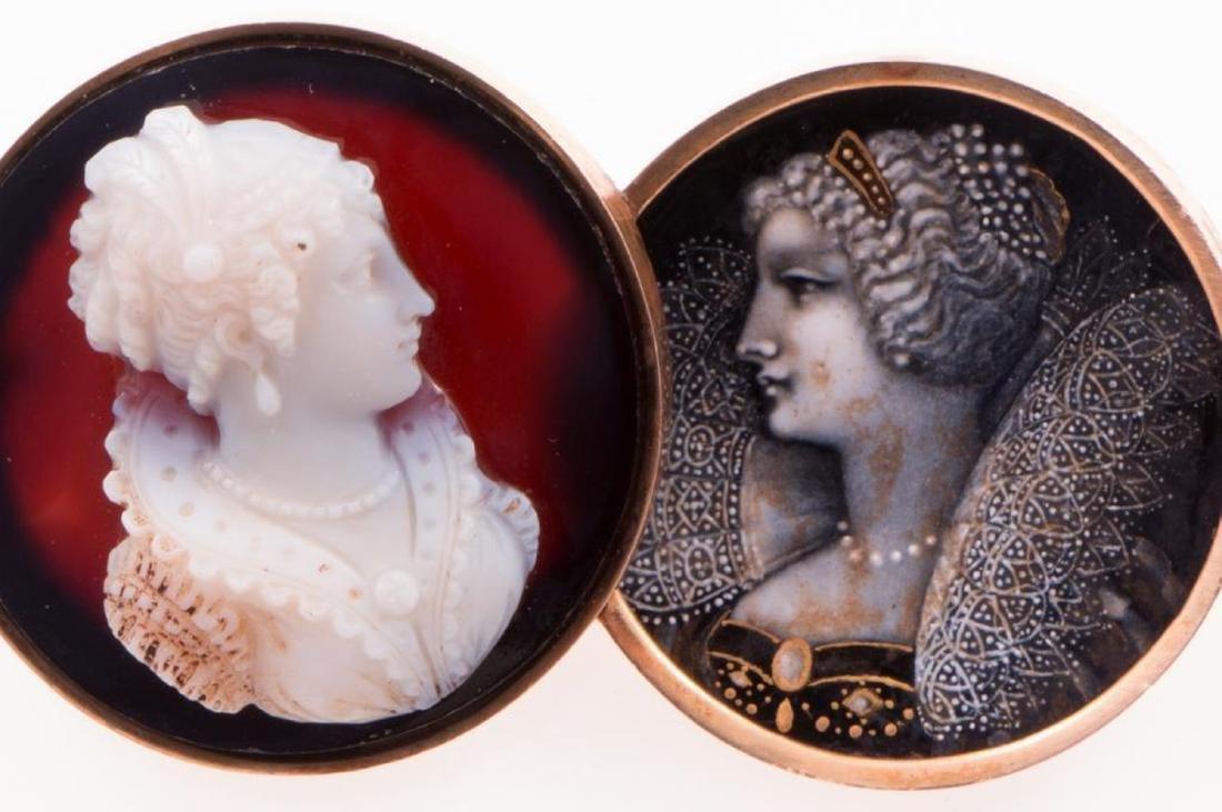 Antique enamel, hardstone cameo and 14k gold brooch - 2